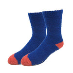 Mens Navy Contrast Fuzzy Socks