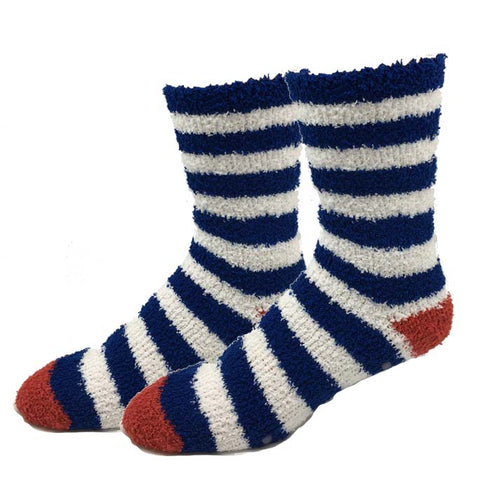 Navy Stripe Fuzzy Socks