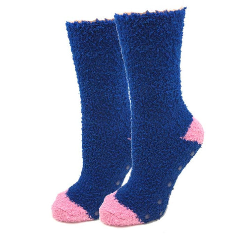 Womens Navy Contrast Fuzzy Socks