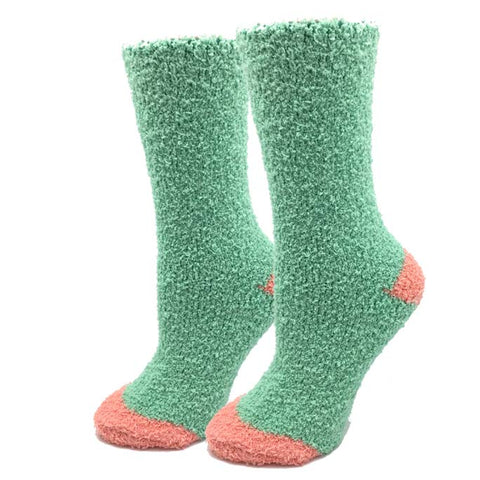 Mint Contrast Fuzzy Socks