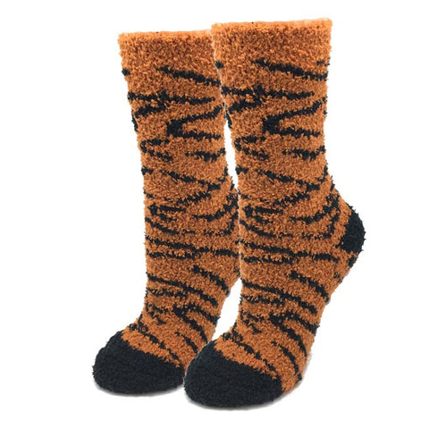 Orange Tiger Fuzzy Socks