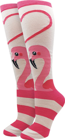 Flamingo Heart Knee High Socks