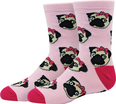 Pink Pug Kids Socks