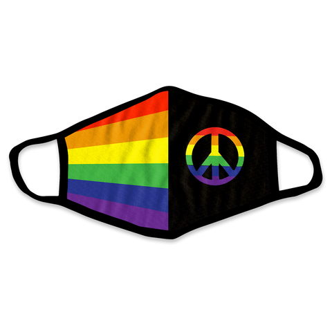 Rainbow Peace Sign Face Mask