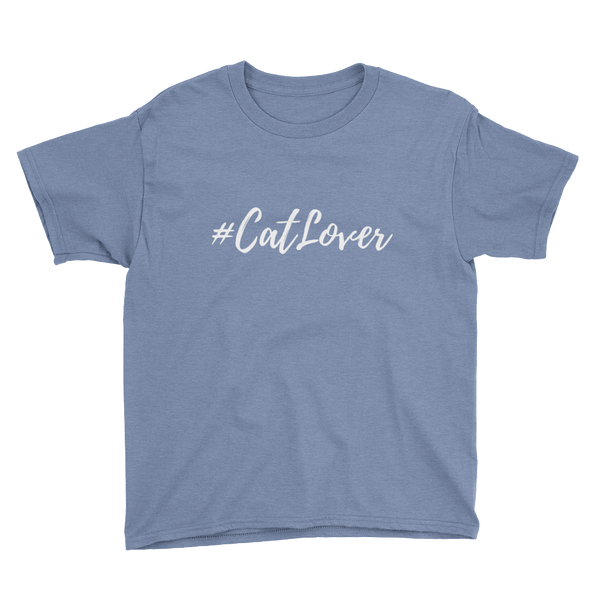 Youth Unisex T-Shirt | #Cat Lover White
