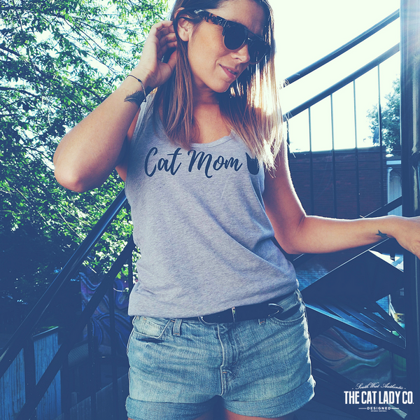 Racerback Tank Top | White Cat Mom