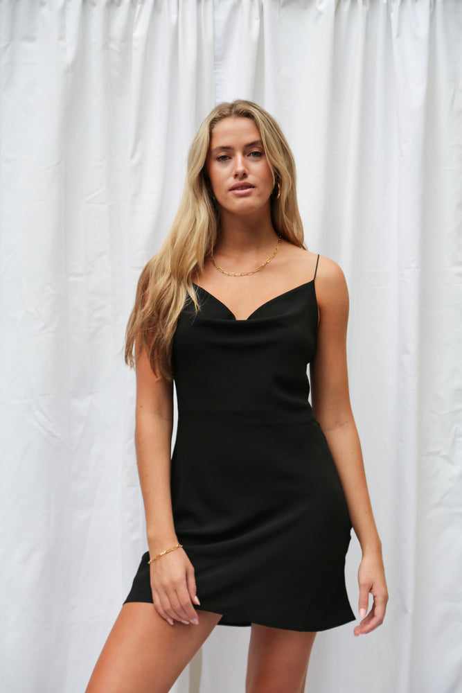 Black mini spaghetti strap dress