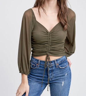 Olive long sleeve blouse - Hippie Kids
