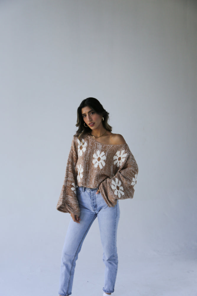 Brown Flower Power Sweater