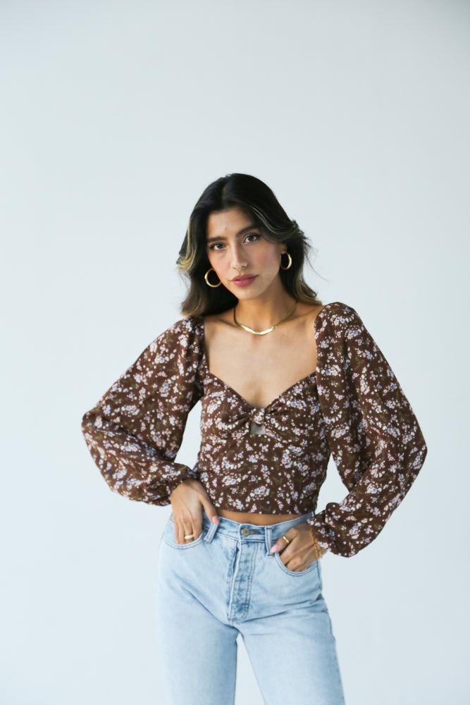 Chocolate Floral Top