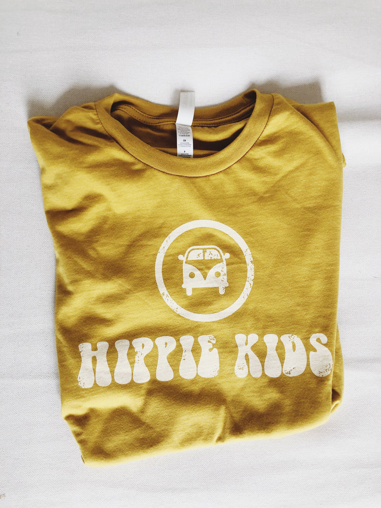 Mustard faded logo tee - Hippie Kids