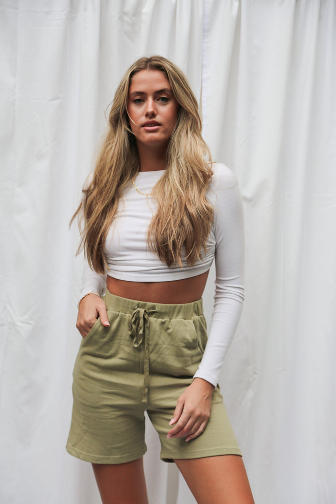 Sage sweat shorts