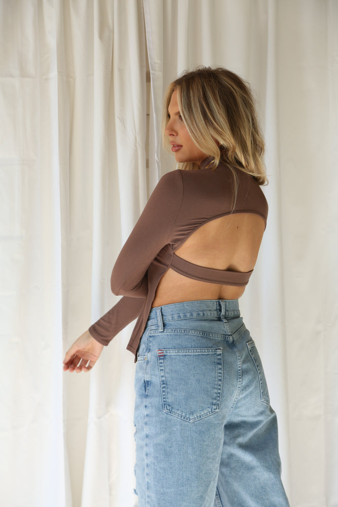 Chocolate open back turtle neck