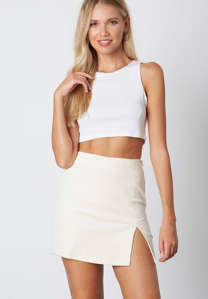 Ivory Corduroy slit skirt - Hippie Kids