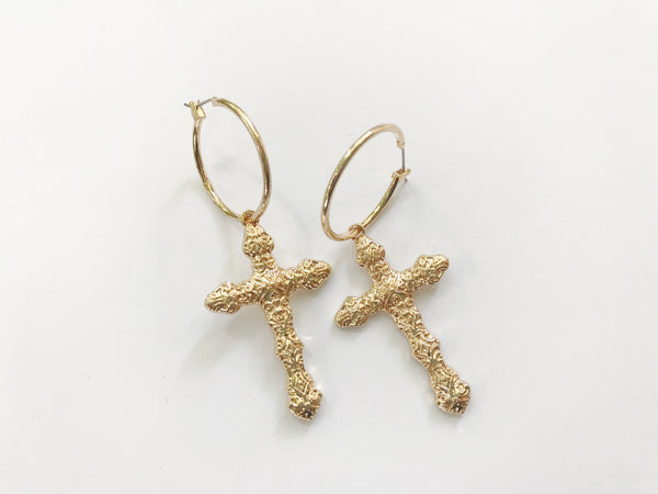 Cross hoop earrings - Hippie Kids