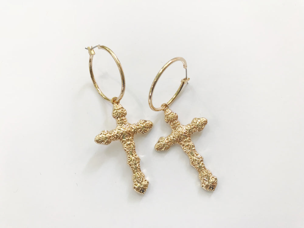 Gold Cross Earrings - Hippie Kids