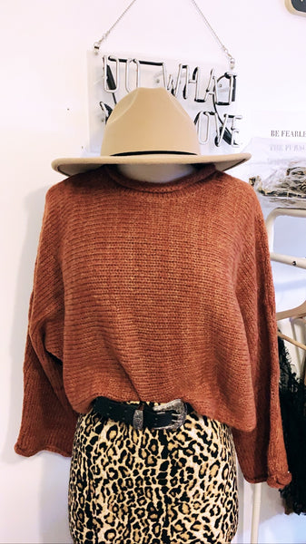 Rust desert crop sweater - Hippie Kids