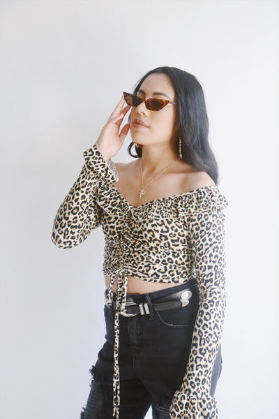 Off the shoulder Cheetah top - Hippie Kids
