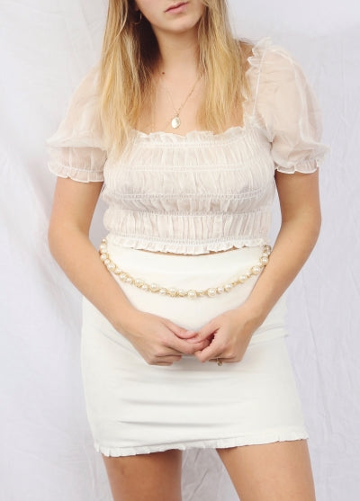 White ruffled  mini skirt - Hippie Kids