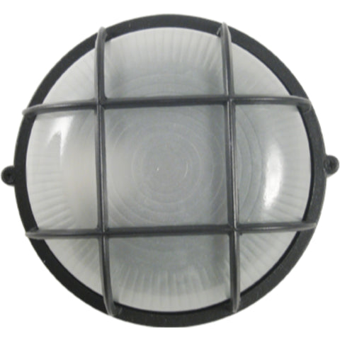 1-Light Small Round Grid Marine Light, Wall Mount