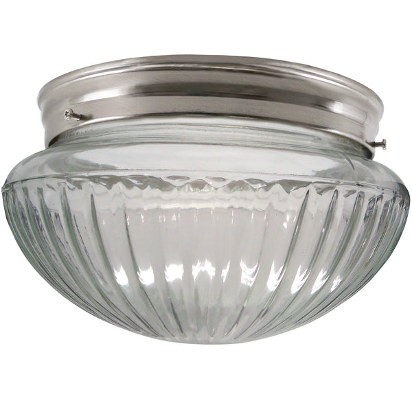 2-Light Clear Ribbed Mushroom Flush Mount