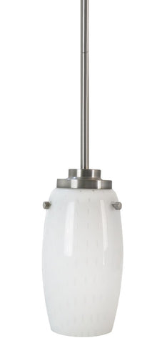 1-Light Contemporary Mini Pendant, Seeded Opal Glass