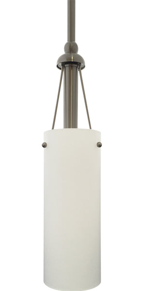 1-Light Satin Opal Cylinder Pendant, Tripod Support