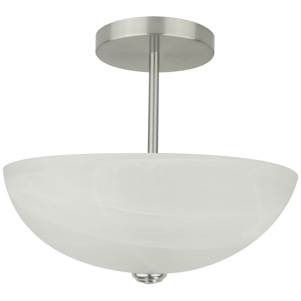 2-Light Alabaster Semi-Flush Mount