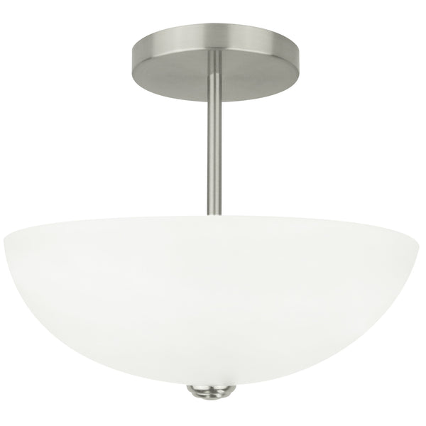 2-Light Frosted Semi-Flush Mount