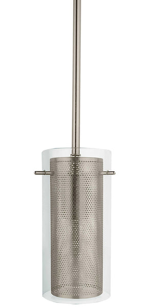 1-Light, Clear Glass & Metal Mesh Cylinder Pendant