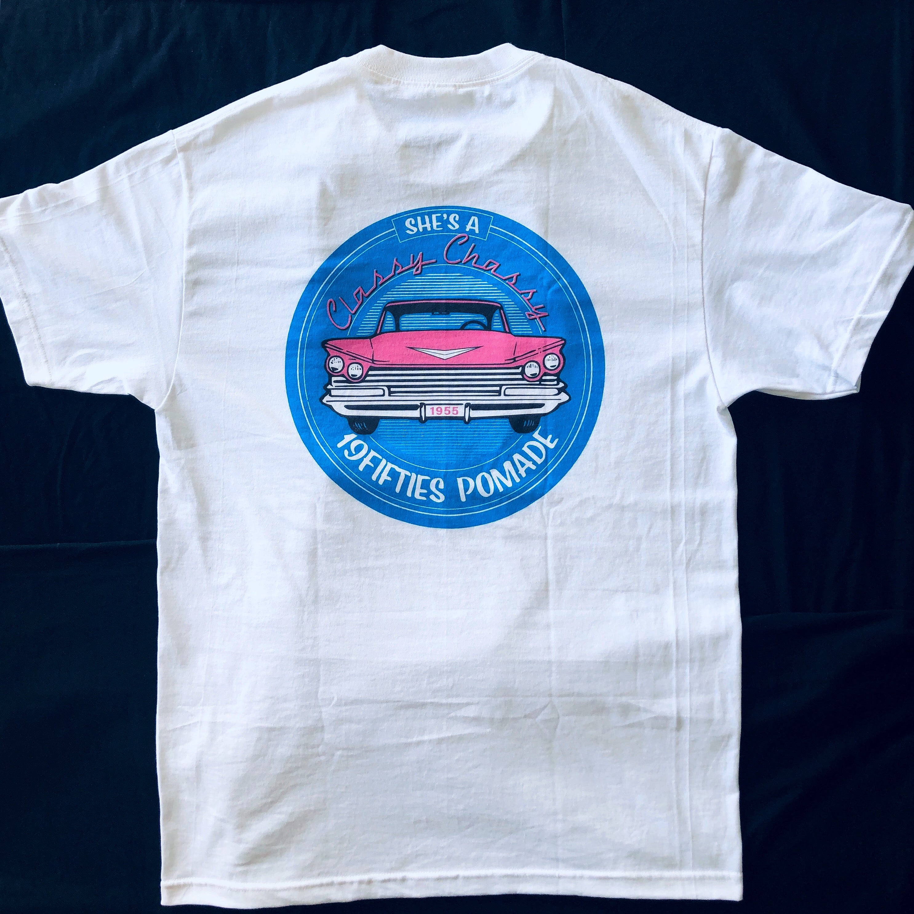 """Classy Chassy"" Tee  - Baby Blue & Hot Pink On White"