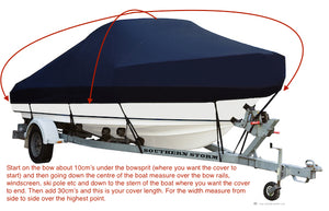 Boat Covers, Cabin with Bow Rails - Black or Navy Blue - Rockboat Marine