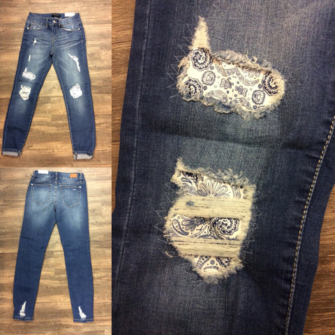 Paisley Patched Skinny Jeans
