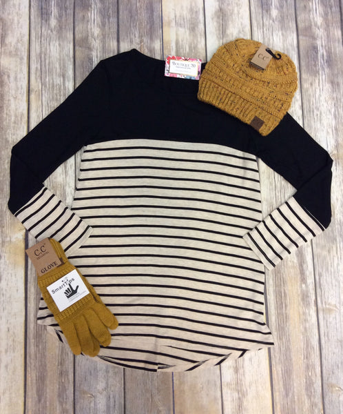 Long Sleeve Stripe Print Top With Button Trim Detail