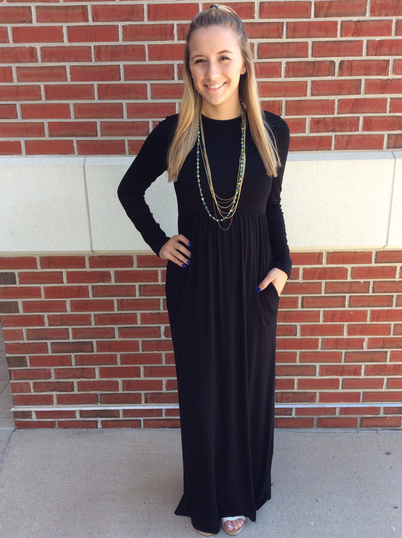 Long Sleeve Solid Maxi Dress - FINAL SALE CLEARANCE