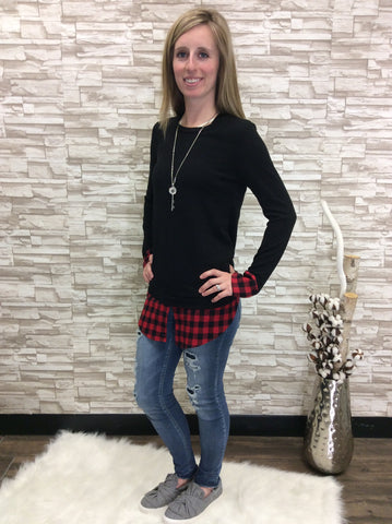 Knit Long Sleeve Top with Plaid Layered Hem