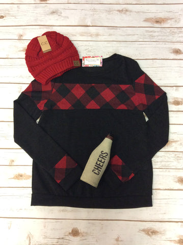 Solid Round Neck Buffalo Plaid Detail Top
