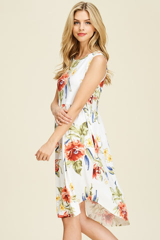 Round Neck High Low Floral Print Dress