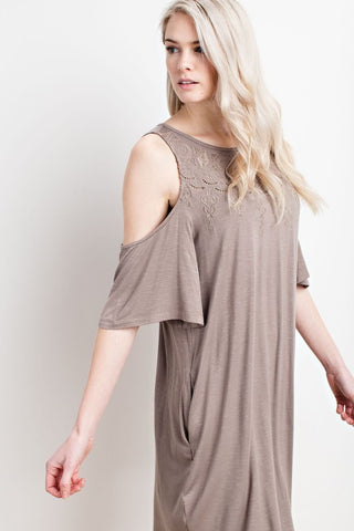Open Embroidery Front Cold Shoulder Dress/Tunic With Pockets