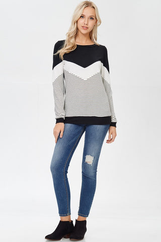 Striped Zig Zag Mixed Print Long Sleeve Top