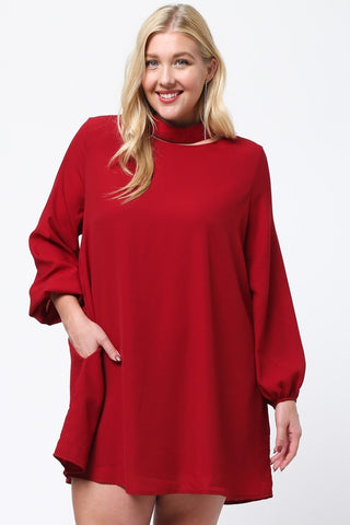 Choker Neckline Dress with Puff Sleeves