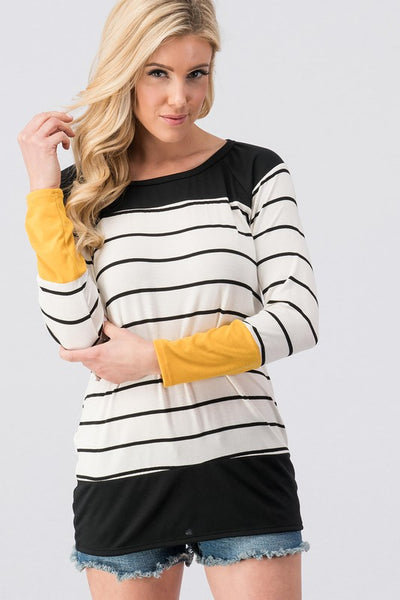 Striped Color Block Long Sleeve Top
