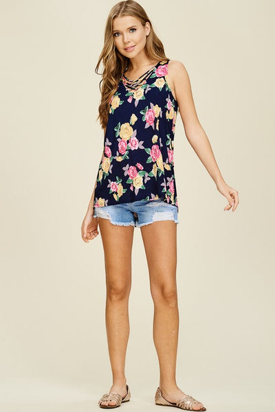 Sleeveless Floral Print Criss Cross Neckline Top
