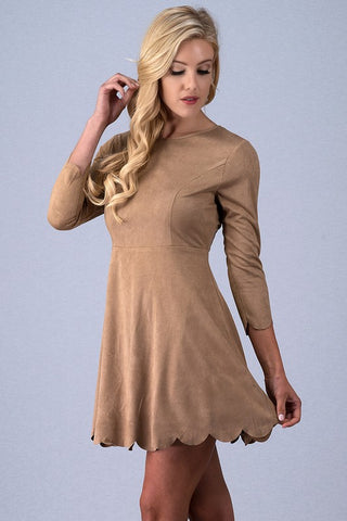 Suede Fit and Flair Dress With Scallop Edge Detail