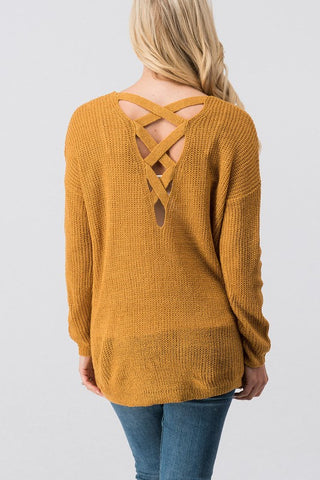 Open Front Knit Cardigan with Criss Cross Back