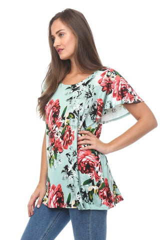 Short Sleeve Floral Top With Tie Back Detail