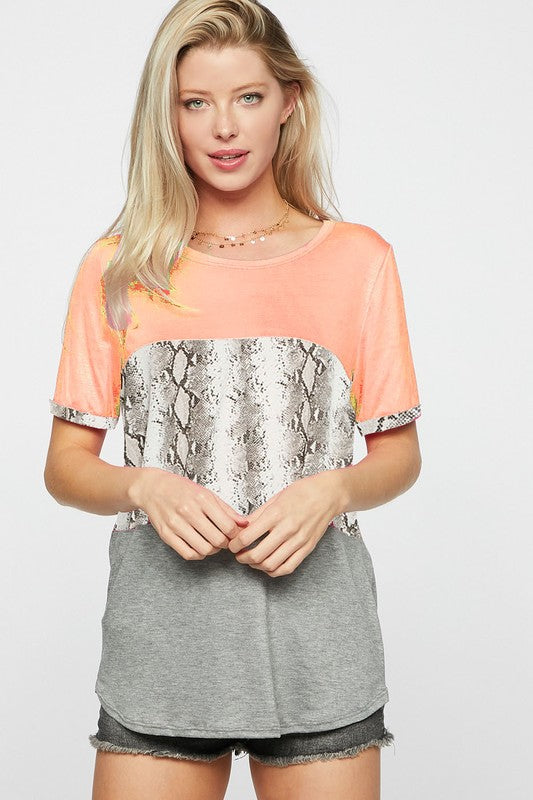 Shine Bright Snake Print Color Block Top