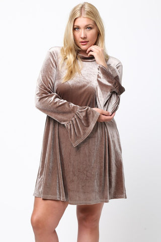 Velvet Bell Sleeve Dress with Keyhole Back