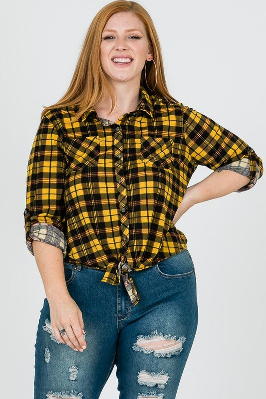 Reflections of the Fire Plaid Top