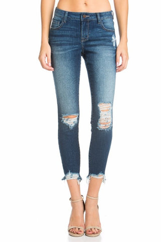 Medium Wash Destruction Crop Skinny